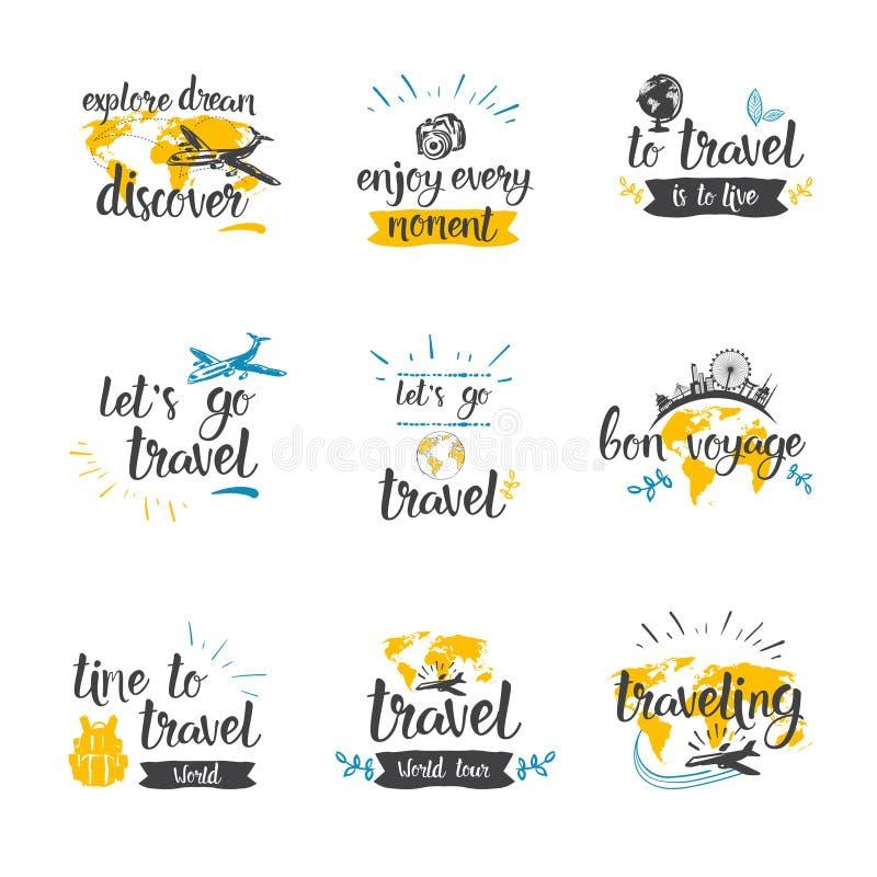 Reise-Zitat-Ikonen-gesetzte Hand gezeichnet, Tourismus-und Abenteuer-Konzept beschriftend vektor abbildung