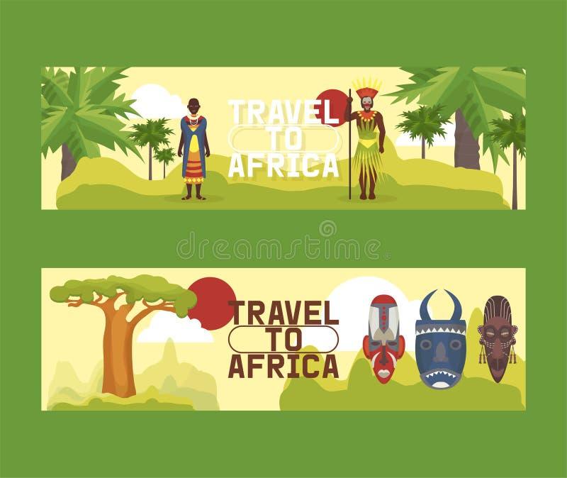Reise zu Afrika-Satz der Fahnenvektorillustration Blauer Himmel und Auto Tourismus, Ferien Alte Masken bekanntmachen Dschungel et vektor abbildung