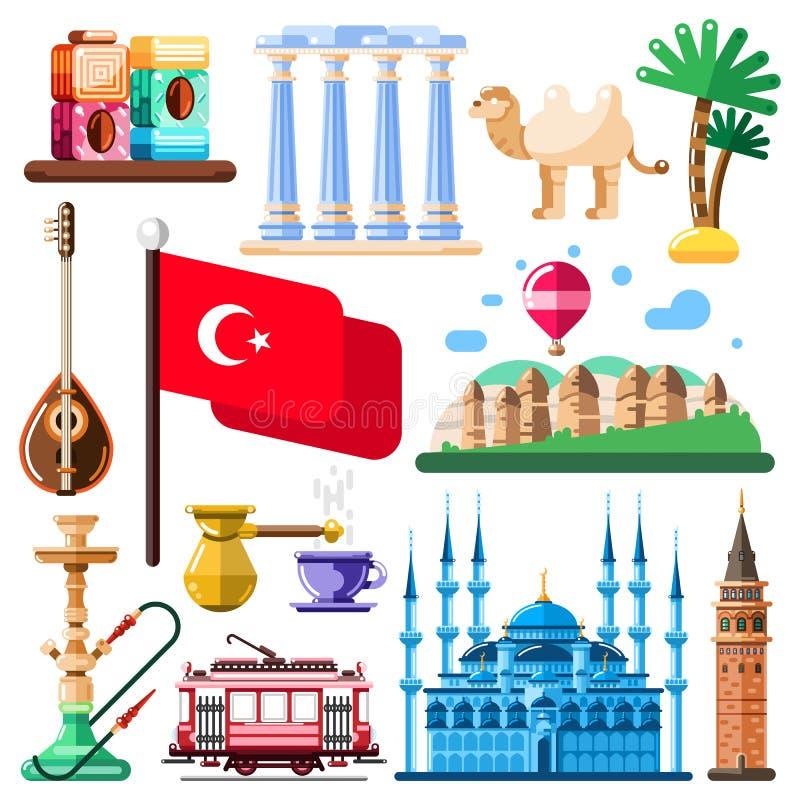 Reise zu die Türkei-Vektorden ikonen und -Gestaltungselementen Türkische nationale Sonderzeichen und flache Illustration der Mark stock abbildung