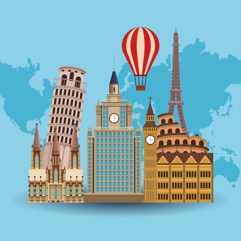 Reise zu Europa vektor abbildung