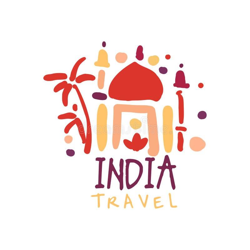 Reise zu Indien-Logo mit Taj Mahal stock abbildung