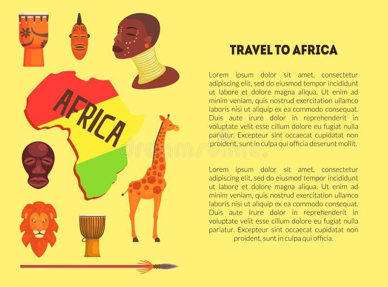 Reise zur Afrika-Fahnen-Schablone mit Informations-Text, Karte von Afrika mit Tier-, eingeborenem und kulturellemzeichen-Vektor lizenzfreie abbildung