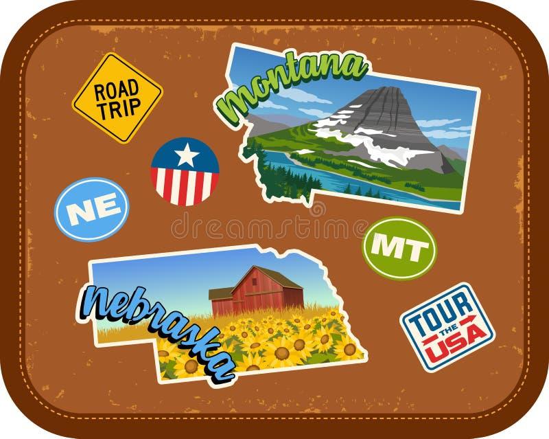 Reiseaufkleber Montanas, Nebraska mit szenischen Anziehungskräften vektor abbildung