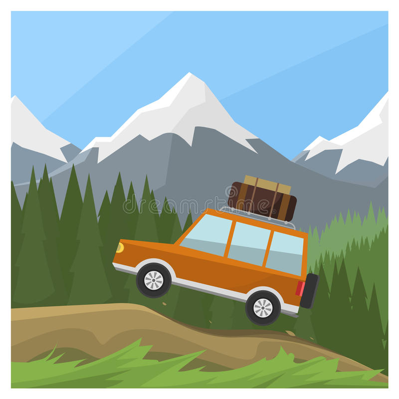 Reiseauto lizenzfreie abbildung