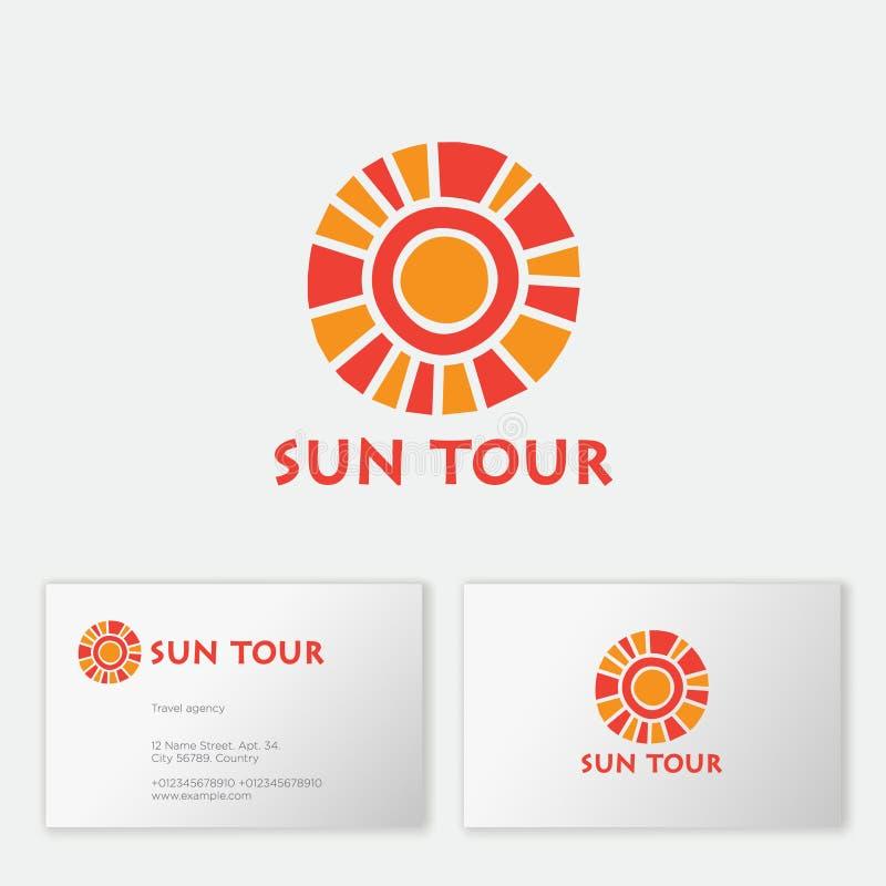 Reisebürologo Sun-Ausflugtourismus-Agenturemblem Die Sonne, wie Mosaik und Buchstaben vektor abbildung