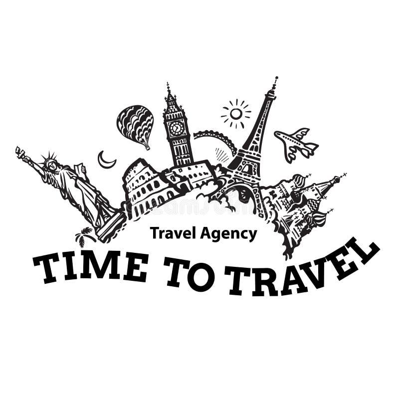 Reisebüroschild Reise- und Tourismushintergrund Berühmte Weltmarksteine rund um den Globus gelegen Hand gezeichnet stock abbildung