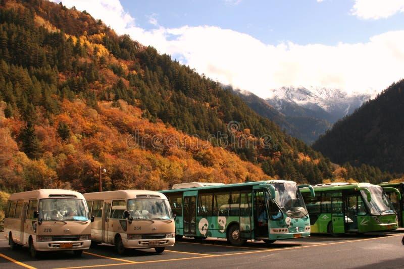 Reisebusse parkten im freundlichen Bereich Nationalparks des Jiuzhaigous stockbilder