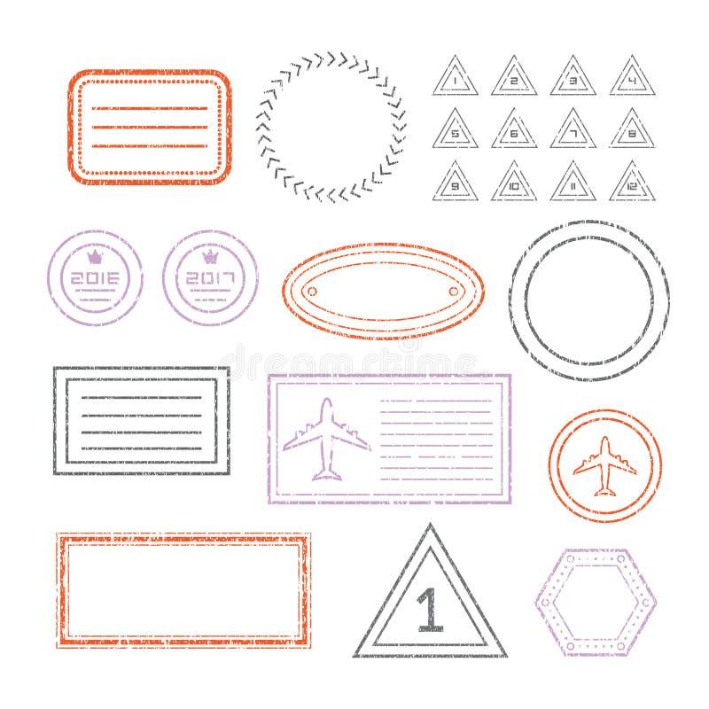 Reisedokument-und des freien Raumes Stempel eingestellt lizenzfreie abbildung