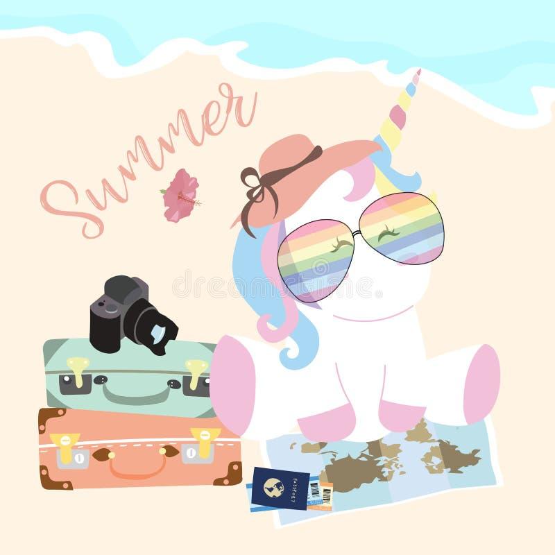 Reisegrußkarte mit Einhorn, Gläser, camara, Gepäck, Karte, Pas stock abbildung