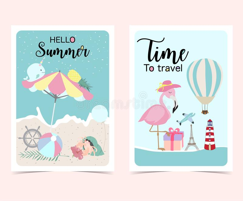 Reisegrußkarte mit Strandschirm, Flugzeug, Flamingo, flowe stock abbildung