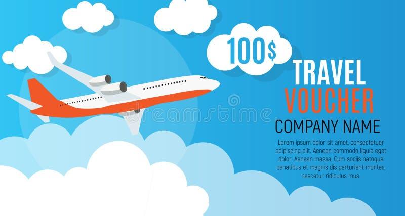 Reisegutschein 100 Dollar-Schablonen-Hintergrund mit Flugzeug Auch im corel abgehobenen Betrag vektor abbildung