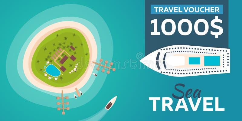 Reisegutschein Reise zum Paradies Flache Illustration des Vektors lizenzfreie abbildung