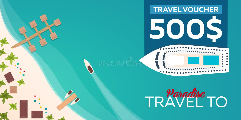 Reisegutschein Reise zum Paradies Flache Illustration des Vektors stock abbildung