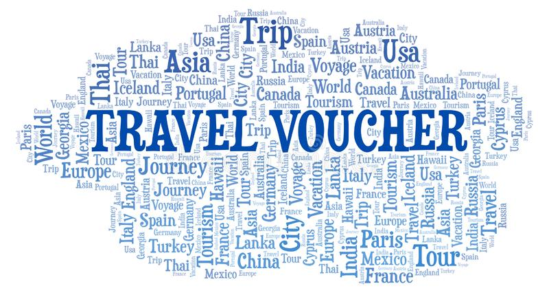 Reisegutscheinwortwolke stock abbildung