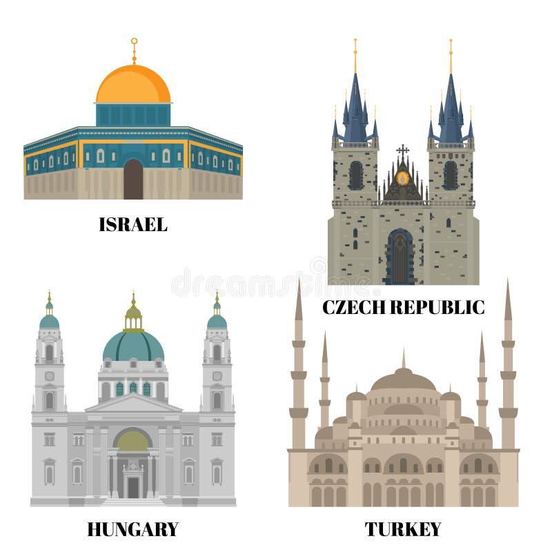 Reiseikonen Israels, Ungarns, der Türkei und der Tschechischen Republik Landbesichtigungs-Symbol-, Ost- und europäischemarksteine lizenzfreie abbildung
