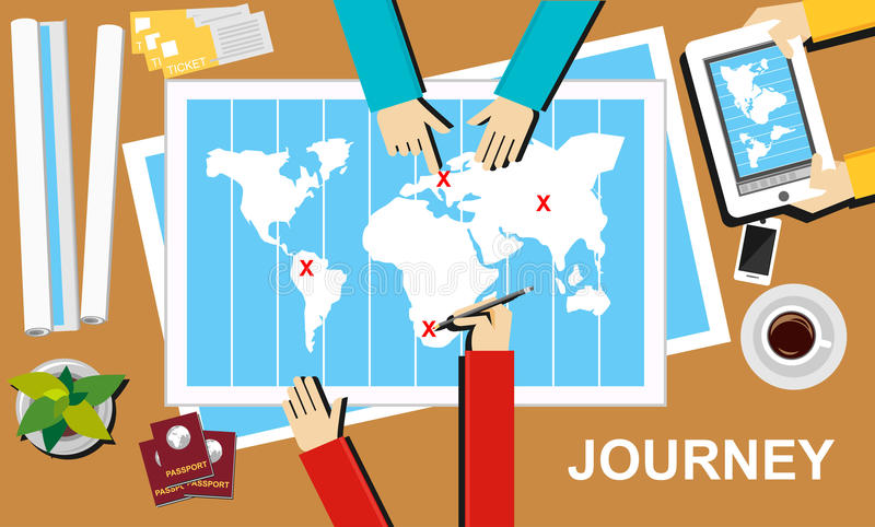 Reiseillustration Reisefahnenkonzept Flache Designillustrationskonzepte für Reise, Bestimmungsort, Reise, Abenteuer, teamwor stock abbildung