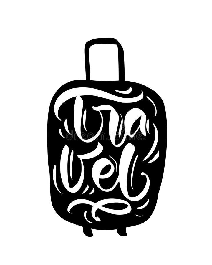 Reiseinspirationszitate auf Kofferschattenbild Verpacken Sie Ihre Taschen f?r ein gro?es Abenteuer Motivation für reisendes Plaka stock abbildung