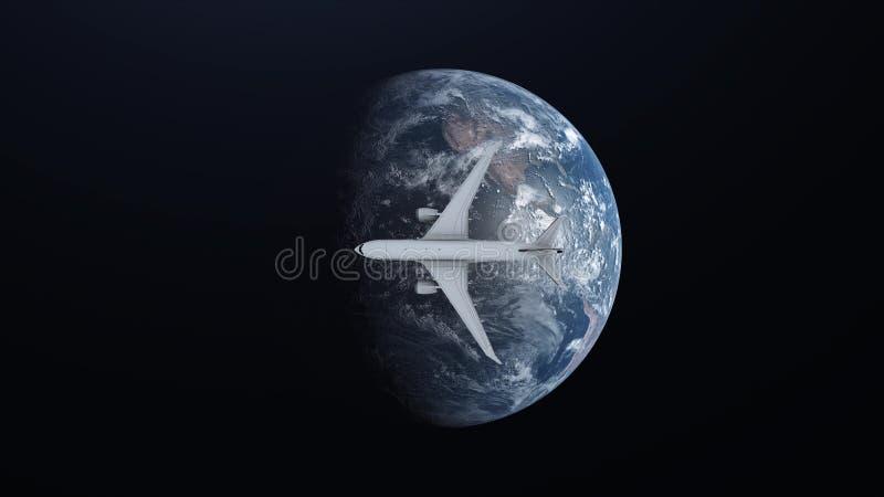 Reisekonzept des Flugzeuges fliegend um Erde auf Raumhintergrund Abbildung 3D vektor abbildung