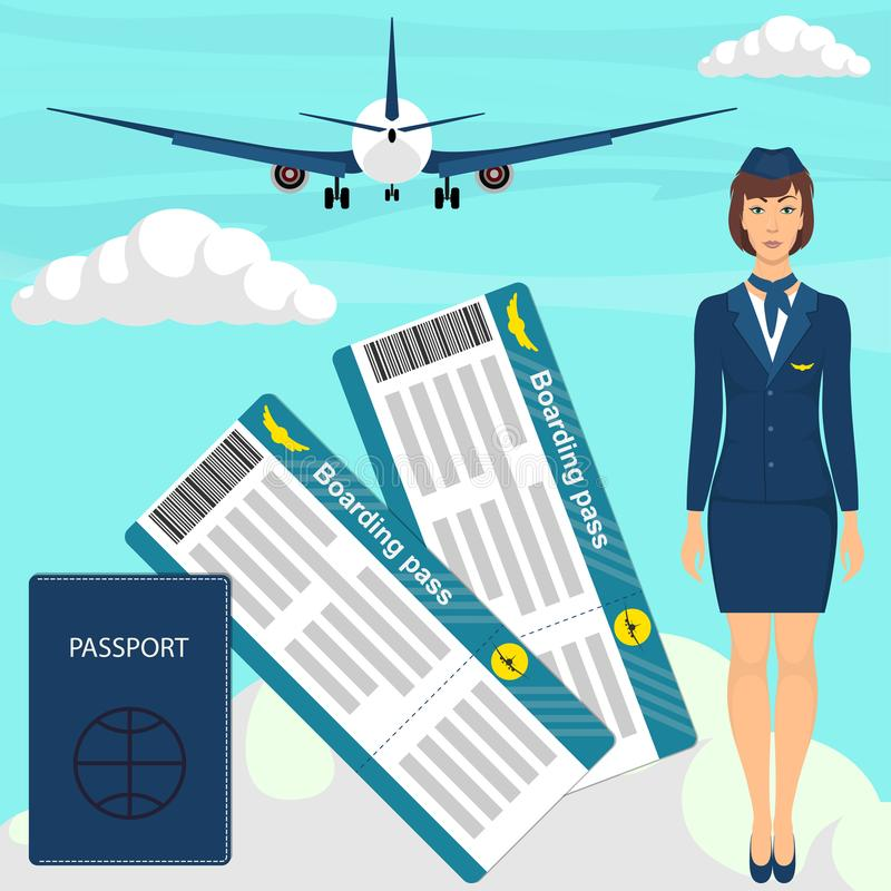 Reisekonzept mit Stewardessfrau in der blauen Uniform, Flugtickets, Pass, Flugzeug im Himmel auf Hintergrund Vektor illustra lizenzfreie abbildung