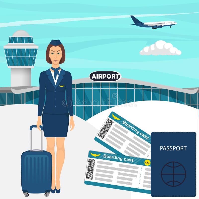 Reisekonzept mit Stewardessfrau in der blauen Uniform mit Koffer, Flugtickets, Pass, Flughafengebäude, Flugzeug in der SK stock abbildung