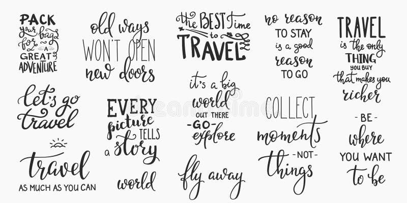 Reiselebeninspiration zitiert Beschriftung lizenzfreie abbildung