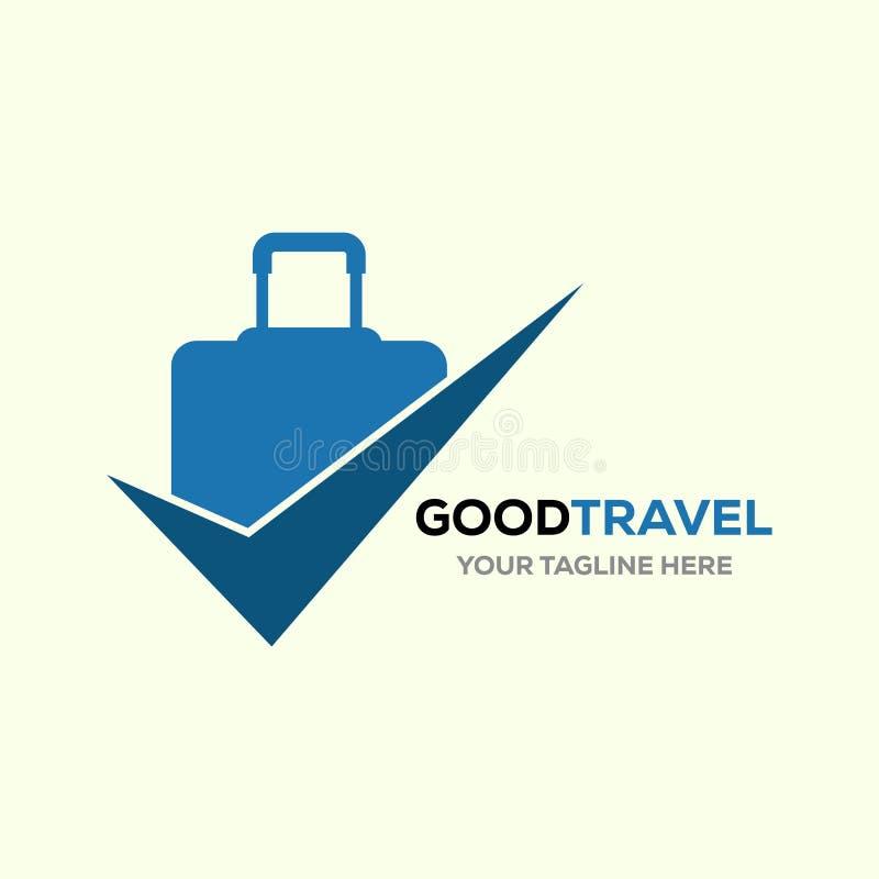 Reiselogo, Feiertage, Tourismus, Geschäftsreise-Firmenlogoentwurf Taschenvektor mit Checkliste vektor abbildung
