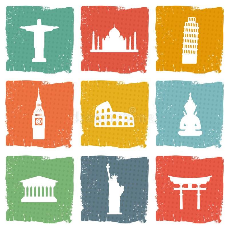 Reisemarkstein-Ikonensatz lizenzfreie abbildung