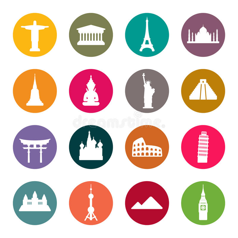 Reisemarkstein-Ikonensatz. Farbe stock abbildung