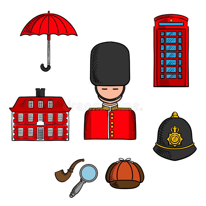 Reisemarksteine von London färbten Skizze vektor abbildung