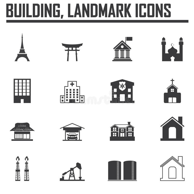 Reisemarksteinikone Satz und Gebäude lizenzfreie abbildung