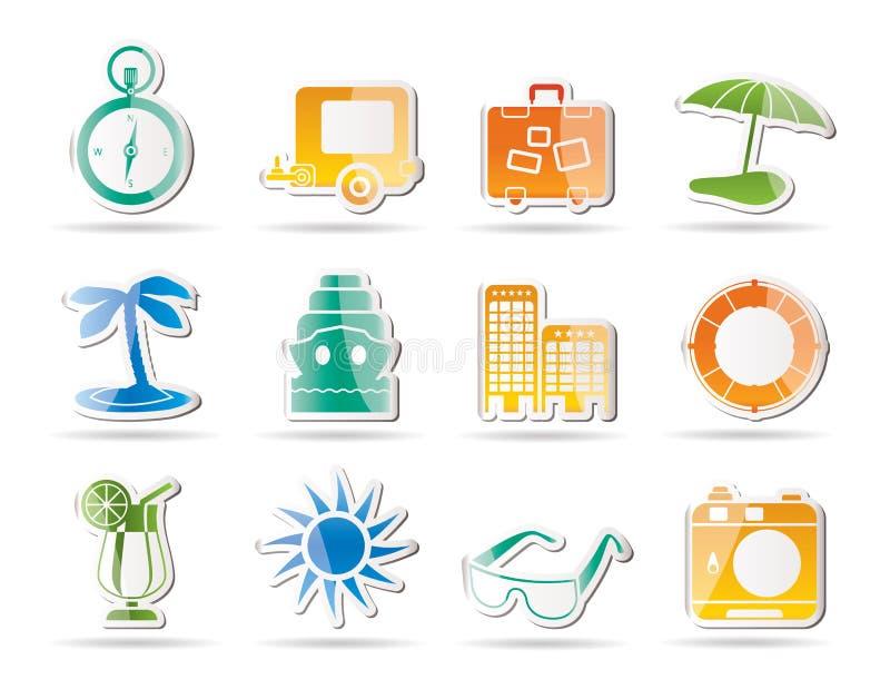 Reisen-, Feiertags-und Reise-Ikonen lizenzfreie abbildung
