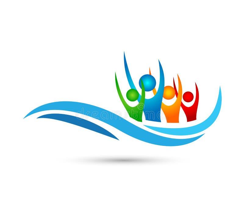 Reisen, Reise, Logo-Wasserwelle Hoteltourismusfeiertagsvektor-Logoentwurf der Strandglücklichen menschen vektor abbildung