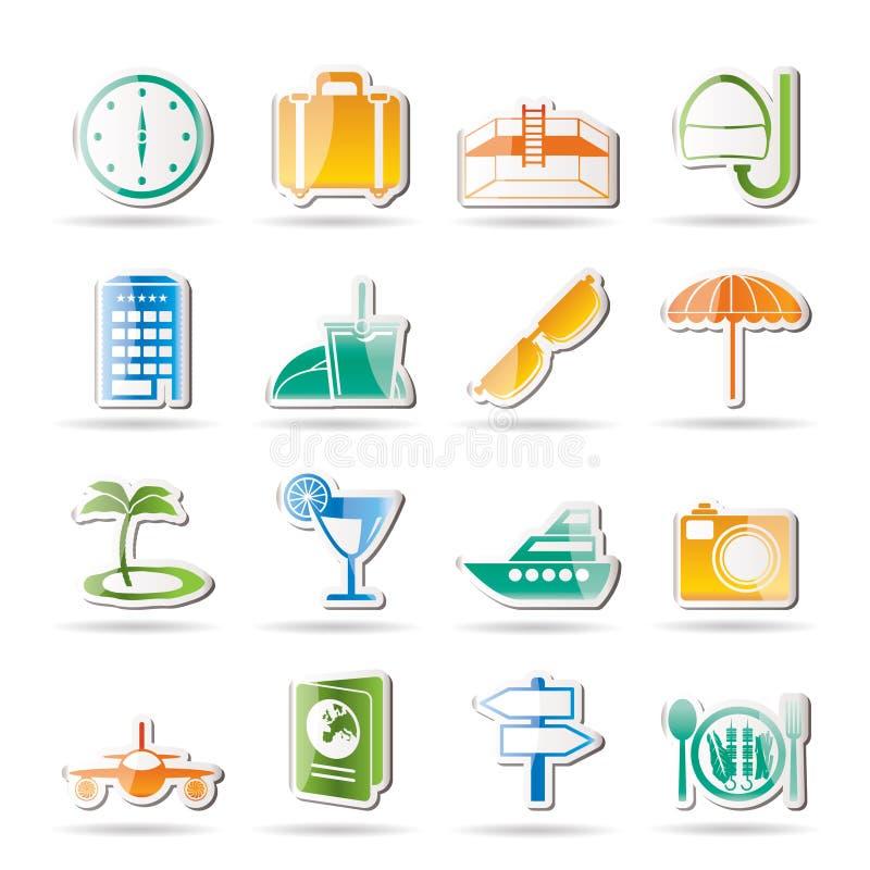 Reisen-, Reise- und Tourismusikonen vektor abbildung