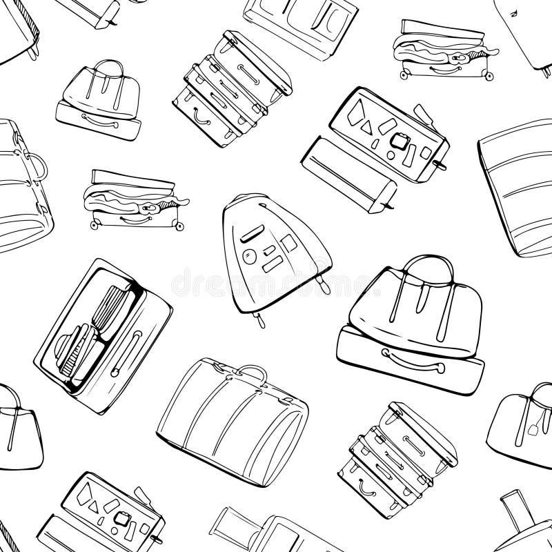 Reisen Sie mehr Motivations-Zitat Hand gezeichneter Satz verschiedene Reisetaschen und -koffer stock abbildung