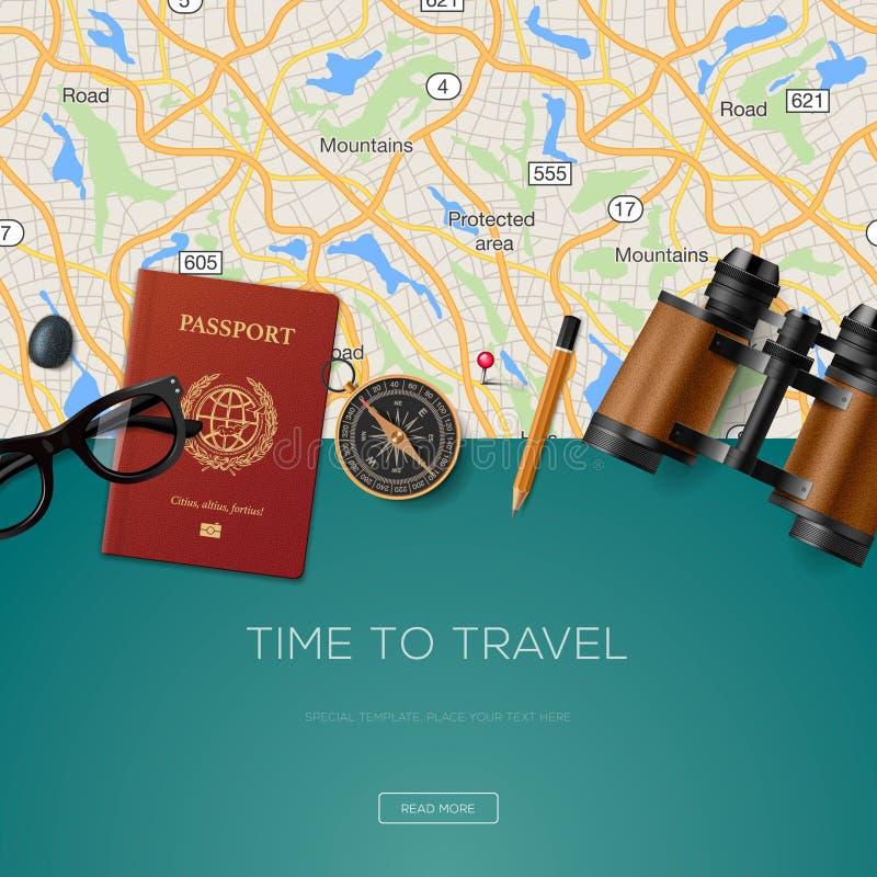 Reisen Sie und wagen Sie Schablone, Zeit zu reisen stock abbildung