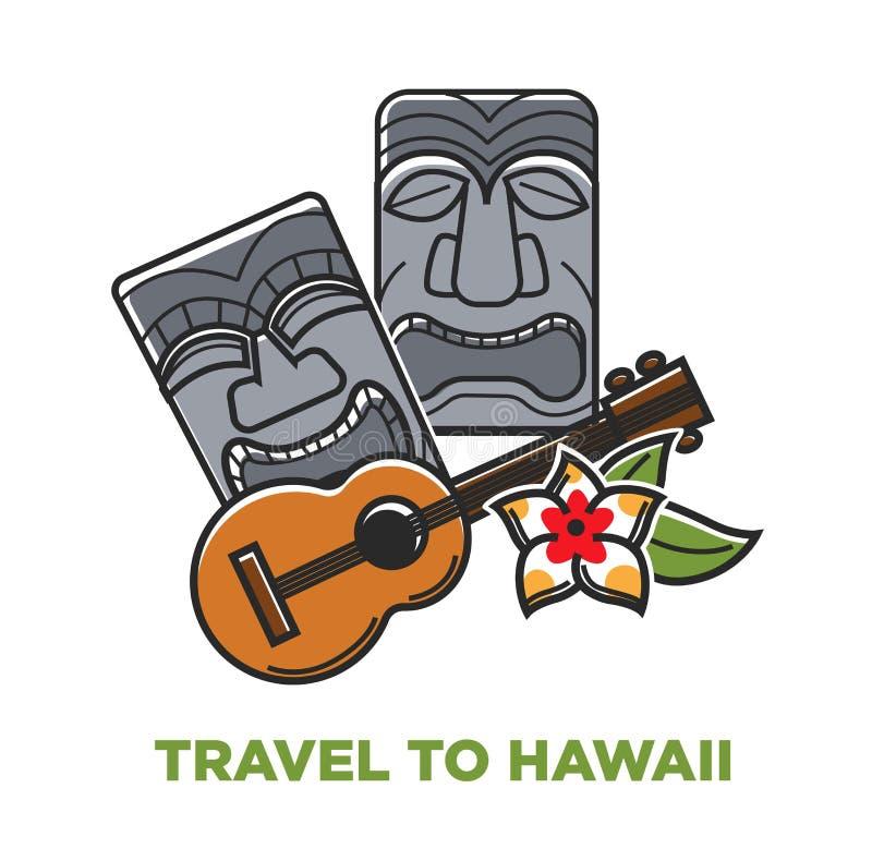 Reisen Sie zu Hawaii-Plakat mit Steinstatuen und Akustikgitarre lizenzfreie abbildung