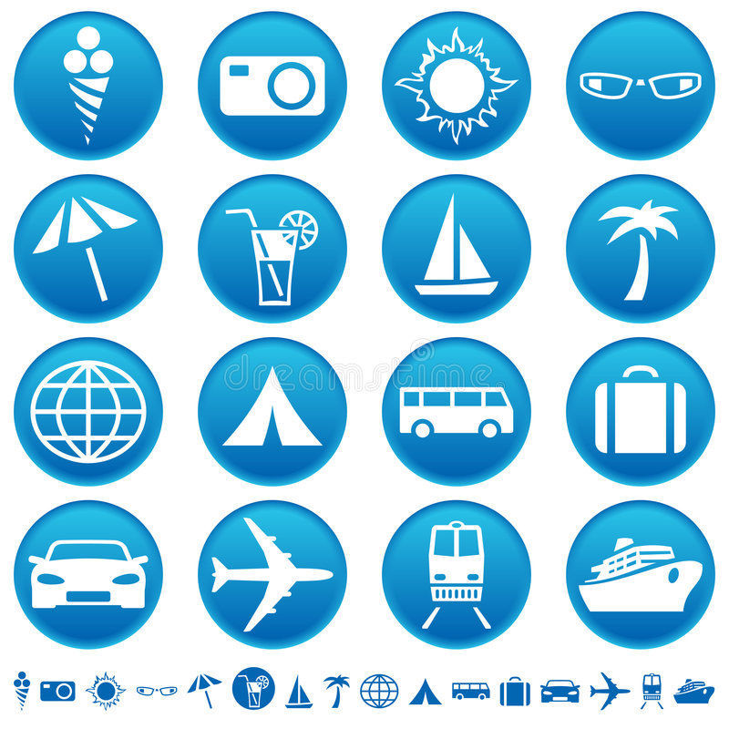 Reisen- u. Tourismusikonen lizenzfreie abbildung