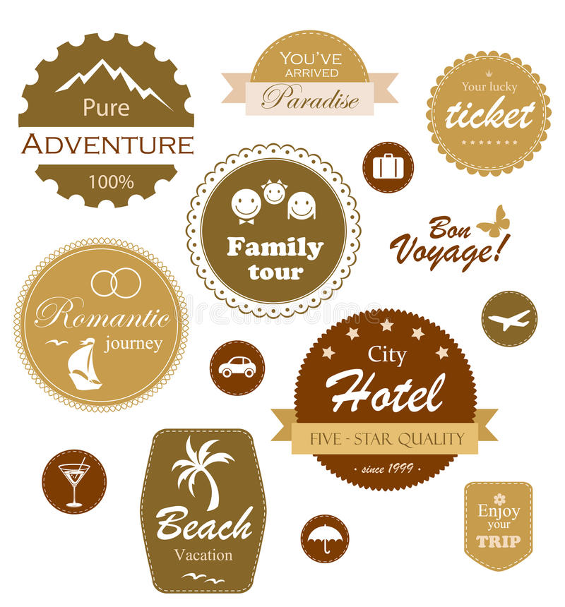 Reisen- und Ferienkennsätze, Abzeichen und Embleme vektor abbildung