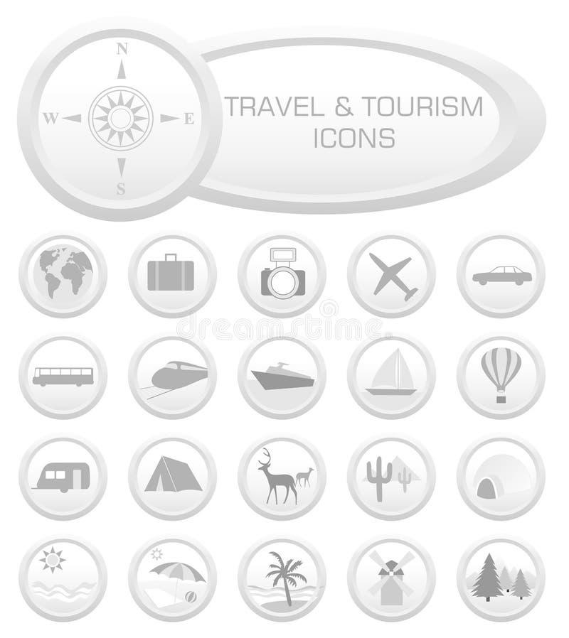 Reisen- und Tourismusikonen lizenzfreie abbildung