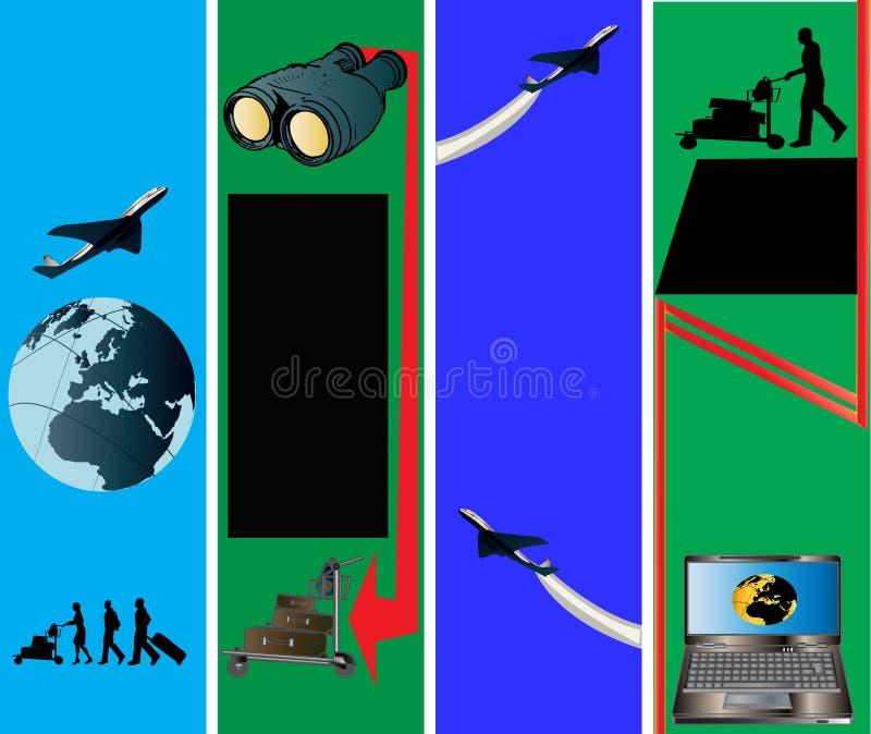 Reisen-Web-Fahnen-Schablonen stock abbildung