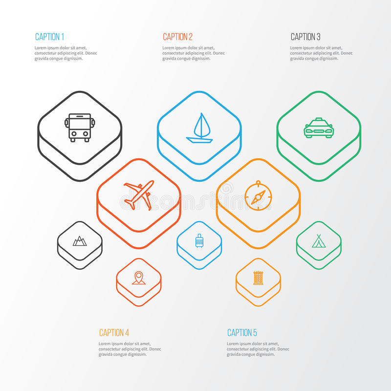 Reisende Entwurfs-Ikonen eingestellt Sammlung Karte Pin, Gebäude, Hügel und andere Elemente Schließt auch Symbole wie ein lizenzfreie abbildung