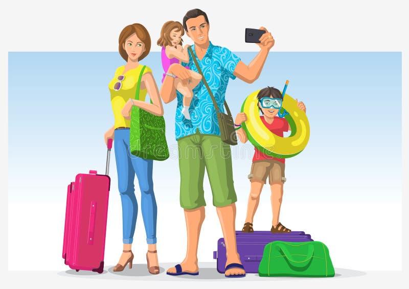 Reisende Familie, die im Urlaub geht lizenzfreie abbildung