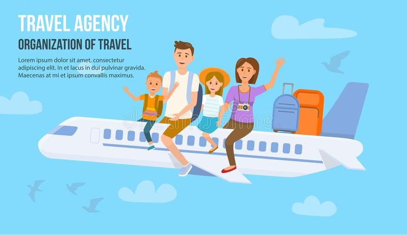 Reisende Familie im Urlaub Auch im corel abgehobenen Betrag stock abbildung