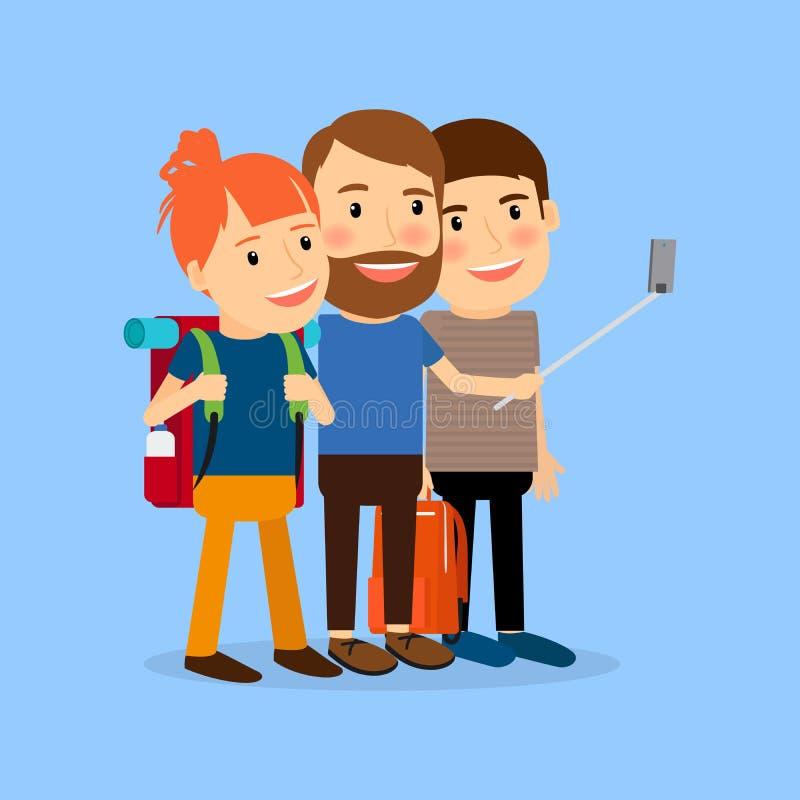 Reisende Familie machen selfie vektor abbildung