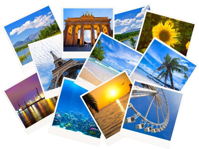 Reisende Fotocollage lokalisiert auf Weiß stockfotografie