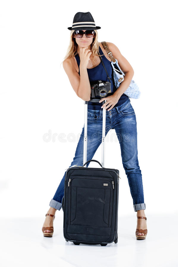 Reisende Frau stockfoto