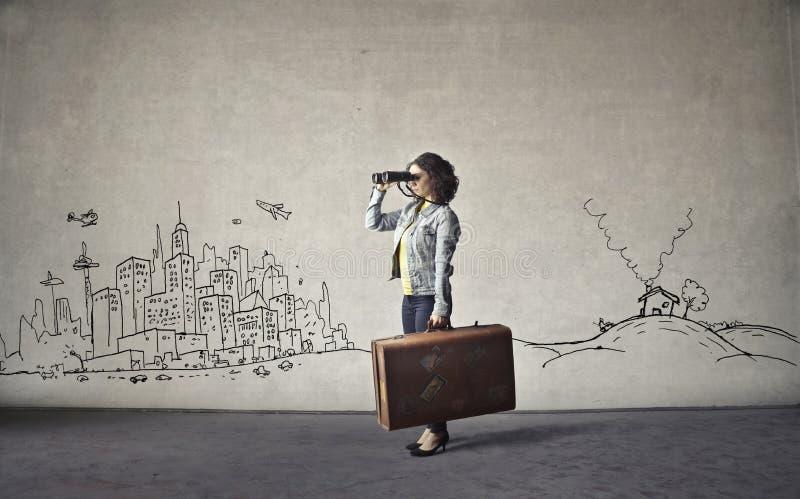 Reisende Frau lizenzfreie stockbilder