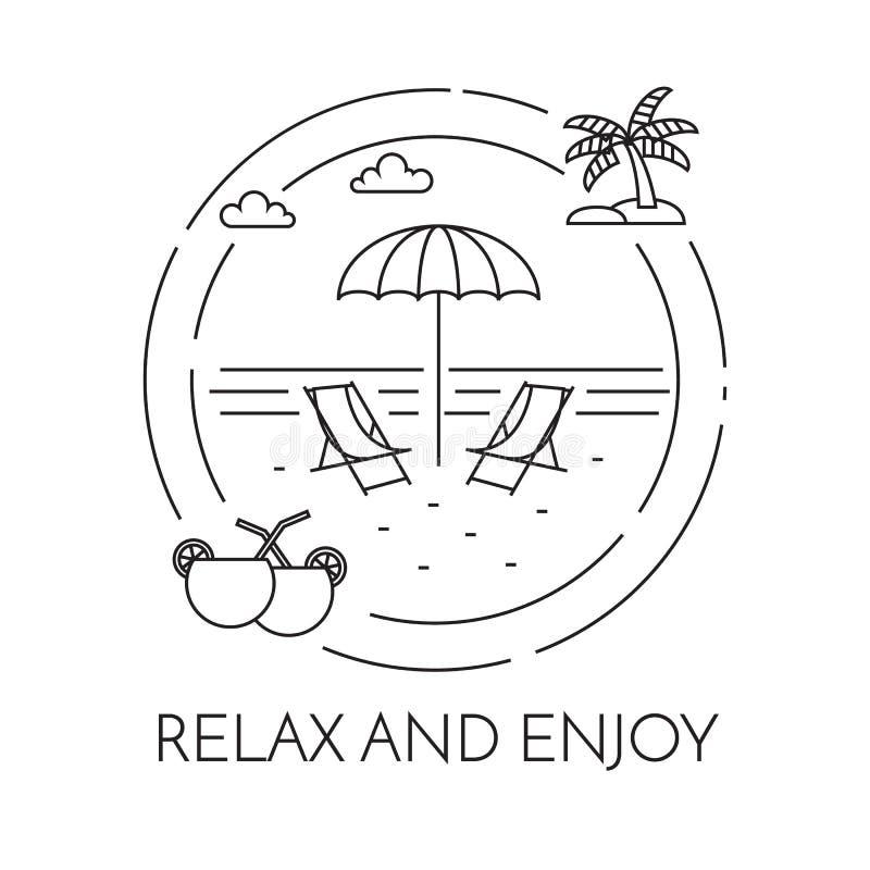 Reisende horizontale Fahne mit Strand, Palme und Cocktails Linie Kunst vektor abbildung