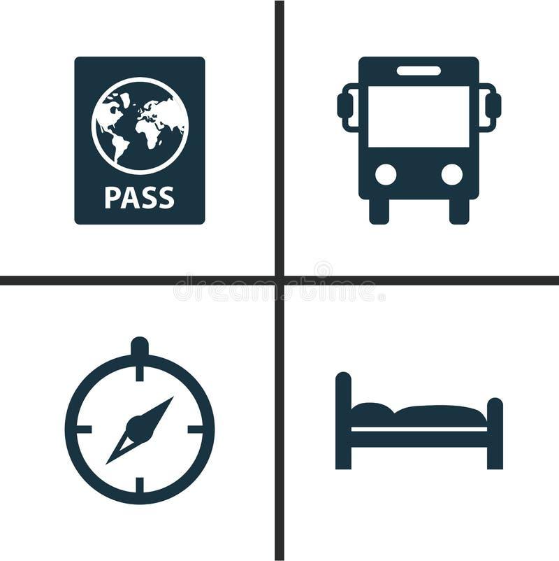 Reisende Ikonen eingestellt Sammlung Zertifikat, Transport, Bleibe und andere Elemente Schließt auch Symbole wie ein stock abbildung