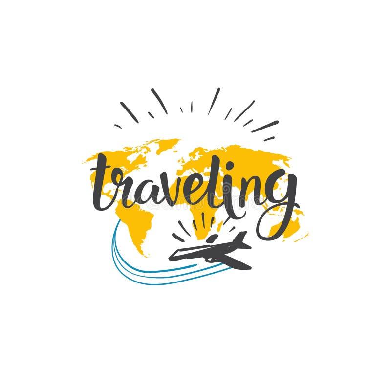 Reisende Ikonen-Welttournee-Hand gezeichnet, Tourismus-Abenteuer-Konzept beschriftend stock abbildung